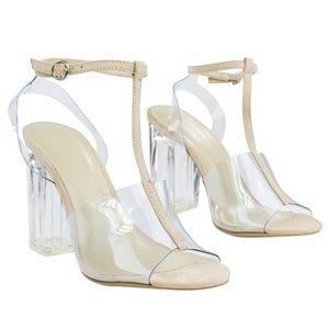 Natalie 01 T-Strap Clear Block Heel Dress Shoes